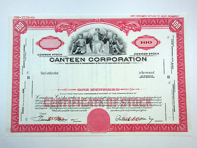 DE. Canteed Corp., 1968 100 Shrs Common Stock Specimen Certificate XF ABNC