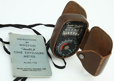 Weston Master II model 736 Cine exposure light meter case instr vintage 367839