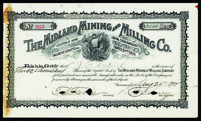 CO. Midland Mining & Milling Co. 1892 I/C Stock Certificate 3000 Shares VF