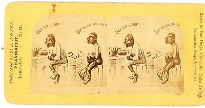 Stereoview, Black Americana -Comical Pharmacy Advertising Card