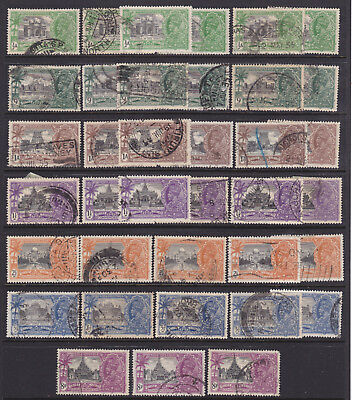 India 1935 KGV Silver Jubilee Used stamps on Stock card