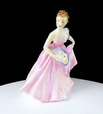 "Royal Doulton #hn2170 Invitation Pink Dress And Blue Fan 5 5/8"" Lady Figurine"
