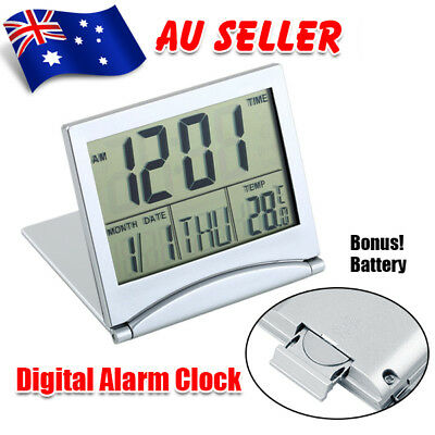 Home Digital LCD Screen Travel Alarm Clock Desk Thermometer Timer Calendar Decor