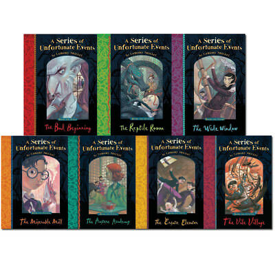 A Series of Unfortunate Events Collection By Lemony Snicket (1-7)7 Books Set NEW