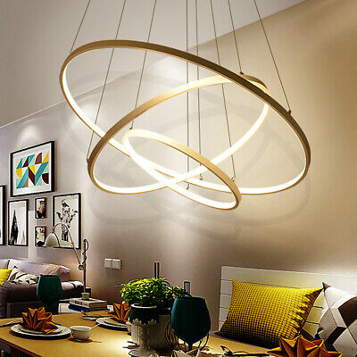 Modern 3 Ring Pendant Light Acrylic Aluminum LED Chandelier Ceiling Lamp Fixture