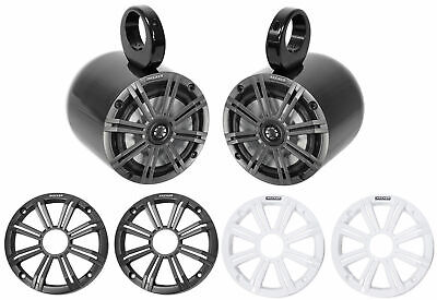 "Pair KICKER 45KM654 6.5"" 390 Watt Black Marine Wakeboard Tower Boat Speakers"
