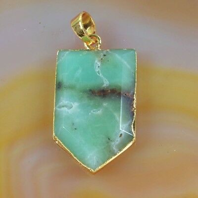 Australia Natural Chrysoprase Faceted Pendant Bead Gold Plated T050538