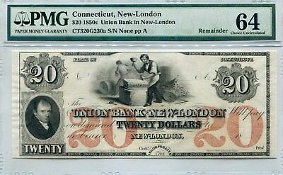 Docs $20 Obsolete Note Union Bank in New-London, CT. PMG Choice Unc 64 Free Ship