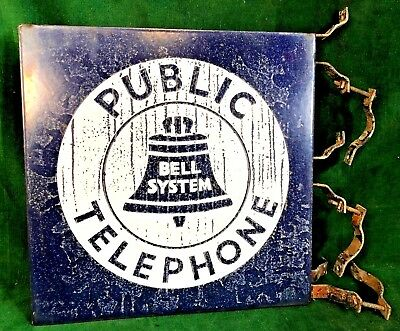 "40s Bell System 2-Side Porcelain Flange Public Telephone Sign w/Brackets 18""x18"""