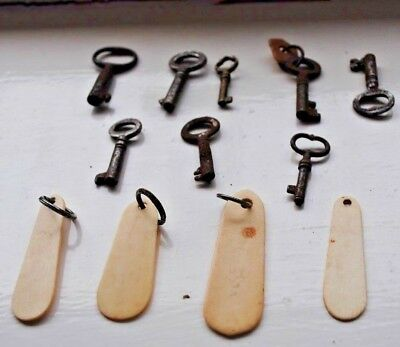 8 Small Vintage Keys And 4 Key Ring Tags