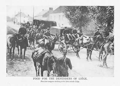 WW1 Food and Provisions for the Defenders of Liege - Vintage Print 1918