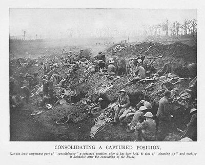 WW1 British Consolidating a Captured Position - Vintage Print 1918