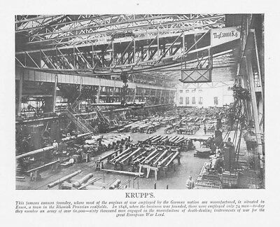 KRUPP'S Cannon Foundry during WW1 - Vintage Print 1918