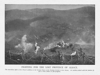 WW1 French Artillery Fighting in Alsace - Vintage Print 1918