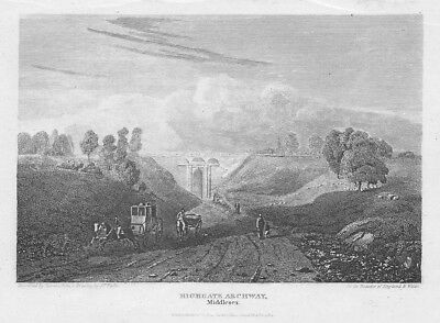 LONDON View at Highgate Archway, Middlesex - Antique Print 1814