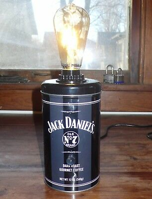 Jack Daniel's Old No 7 Tin Lamp ~ Edison Bulb ~ coffee