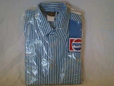 VINTAGE NOS 1970-80's PEPSI COLA PINSTRIPED LONG SLEEVE UNIFORM SHIRT w/ PATCH