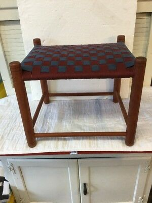 Magnificent Vintage Shaker Style Foot Stool Ottoman With Red & Blue Woven Top