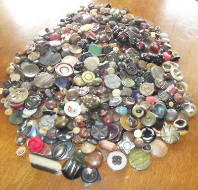 5 + Pounds Of Vintage Buttons ~ Huge Lot Of Celluloid, Wood, Plastic Buttons