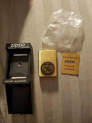 Vintage Zippo Lighter Camel Cigarettes solid Brush Brass Camel Mint In The Box