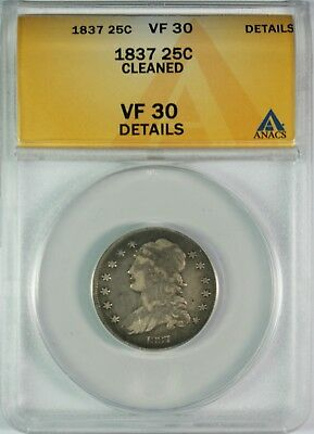 1837 25c Capped Bust Silver Quarter ANACS VF30 Details