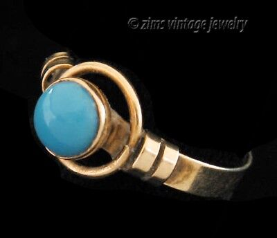 Antique VICTORIAN Persian TURQUOISE cab 10K Gold baby Pinky RING adjustable