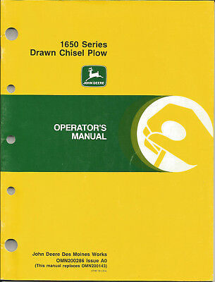 John Deere Manual - 1650 Series Drawn Chisel Plow - Omn200286 Issue A0 - 1989