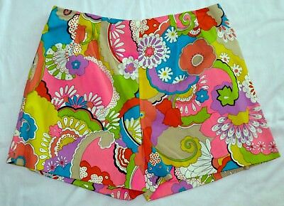 Vtg 60s 70s Women's Psychedelic Peter Max Style Hippie Hot Pants Shorts Pink WOW