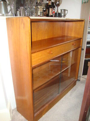 """Parker Knoll """"NATHAN"""" Teak Finish Display/Drinks/Bookcase Cabinet   Glass Doors"""