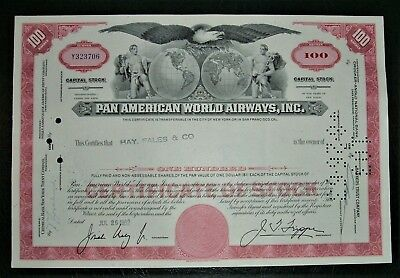 Pan American Would Airways Cancelled 100 Shares Stock Certificate 1962 Aviation