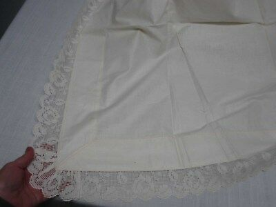"ANTIQUE IVORY PURE LINEN FLAT PILLOW COVER w LACE EDGE 85"" X 35"""
