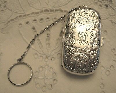 Antique Victorian Sterling Silver Chatelaine Coin Holder & Ring Chain Repousse