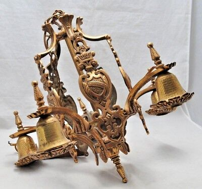 Antique Gothic Art Deco Brass 5 Light Ceiling Fixture Chandelier