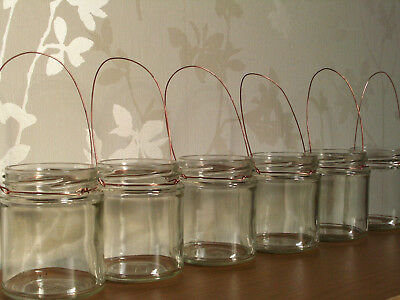 Hanging glass Copper Wire jar tea light holder lanterns wedding Cute Rustic