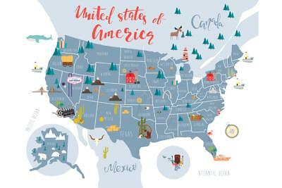 MAP OF The United States Of America Poster Print Usa Map 36