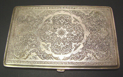 BEAUTIFUL LARGE PERSIAN SILVER CIGARETTE CASE BOX SIGNED JIOUUS183g GOLD INSIDE