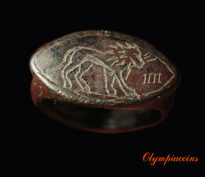**EXTRAORDINARY** Ancient ROMAN LEGIONARY bronze ring  **LION & THUNDERBOLT**