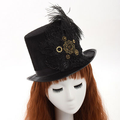 Gothic Victorian Unisex Party Black Hat Vintage Steampunk Gear Lace Top Hat