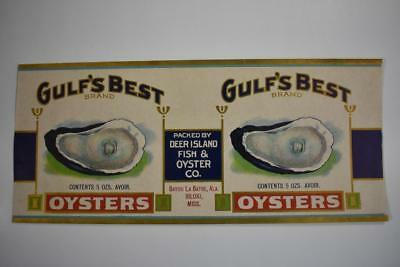 Vintage Label Gulf's Best brand Oysters Deer Island Fish & Oyster Co Biloxi Miss