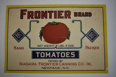 Vintage Label Frontier brand Tomatoes Niagara Frontier Canning co Newfane NY