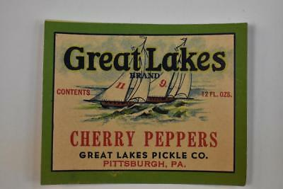 Vintage Label Great Lakes Cherry Peppers Great Lakes Pickle Co Pittsburgh PA