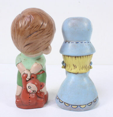 "Vintage Pair Of Boy And Girl Pottery Figurines 7.5""H"