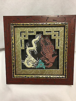 Asian Style Framed Art Clay Dragon And Flower In Dimensional Frame