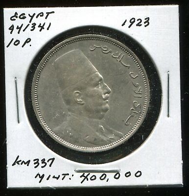 ** Egypt Ah1341 , 10 Piastres Silver ....scarce, Low Minted 4Oo K. **