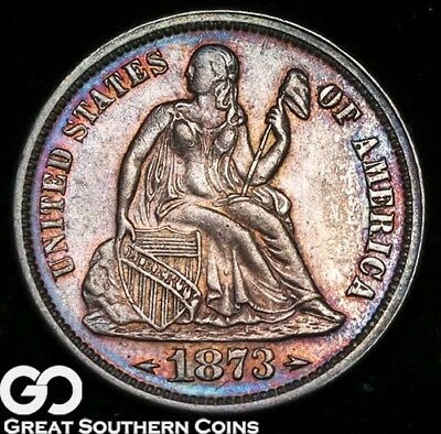 1873 Seated Liberty Dime ARROWS, Beautifully Toned Choice Uncirculated++ Tough!
