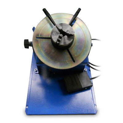 "Blue 110V Rotary Welding Positioner Turntable Table Mini 2.5"" 3 Jaw Lathe Chuck"