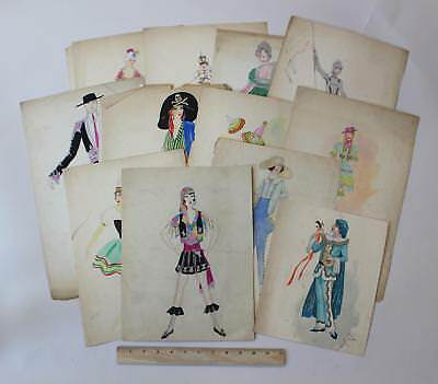 Antique 1920s Art Deco Womens Fashion Pin-Up Watercolor Paintings Illustrations
