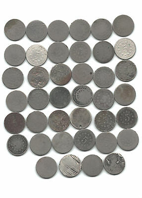 Complete Roll/Lot of 40 Shield Nickels- 1866-1883, Majority With Dates!