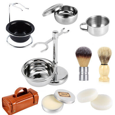 Men Wood Handle Shaving Brush Razor Stand Holder Stainless Mug Bowl Toiletry Bag