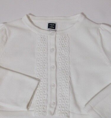 Janie And Jack_Girls White Cropped Cardigan Sweater_Size 4_White_Cotton